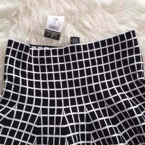 Skirts - Black white geometric square fit and flare skirt